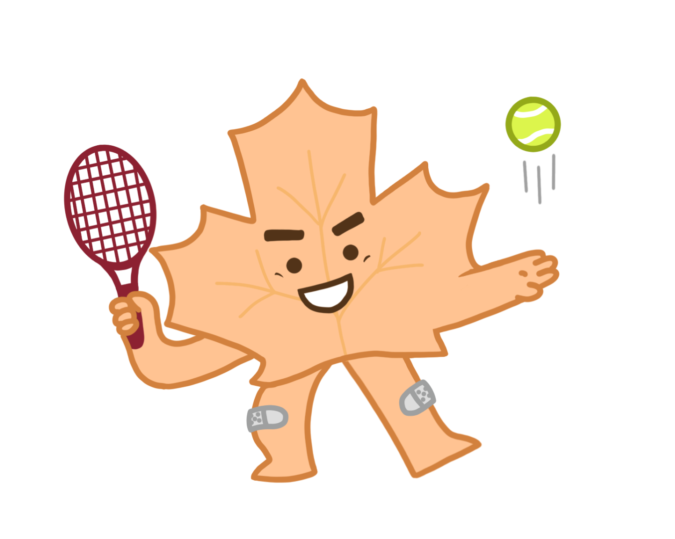 Orange leaf after vein treatment playing tennis
