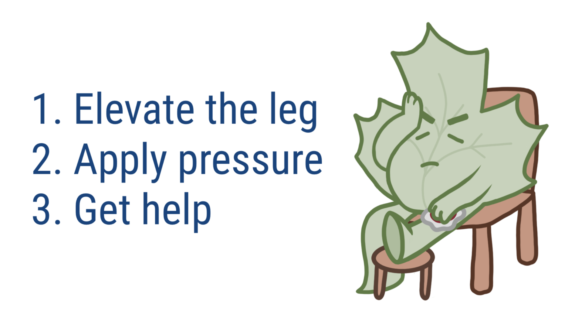leaf character sitting and elevating his leg after a ruptured varicose vein