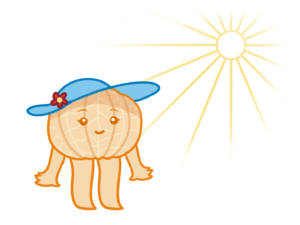 wearing a sun hat to prevent veins on the face