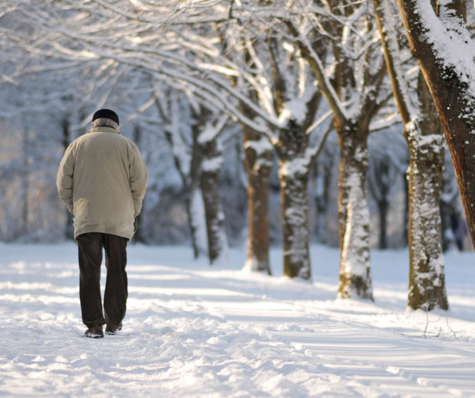 old man in winter with varicose veins