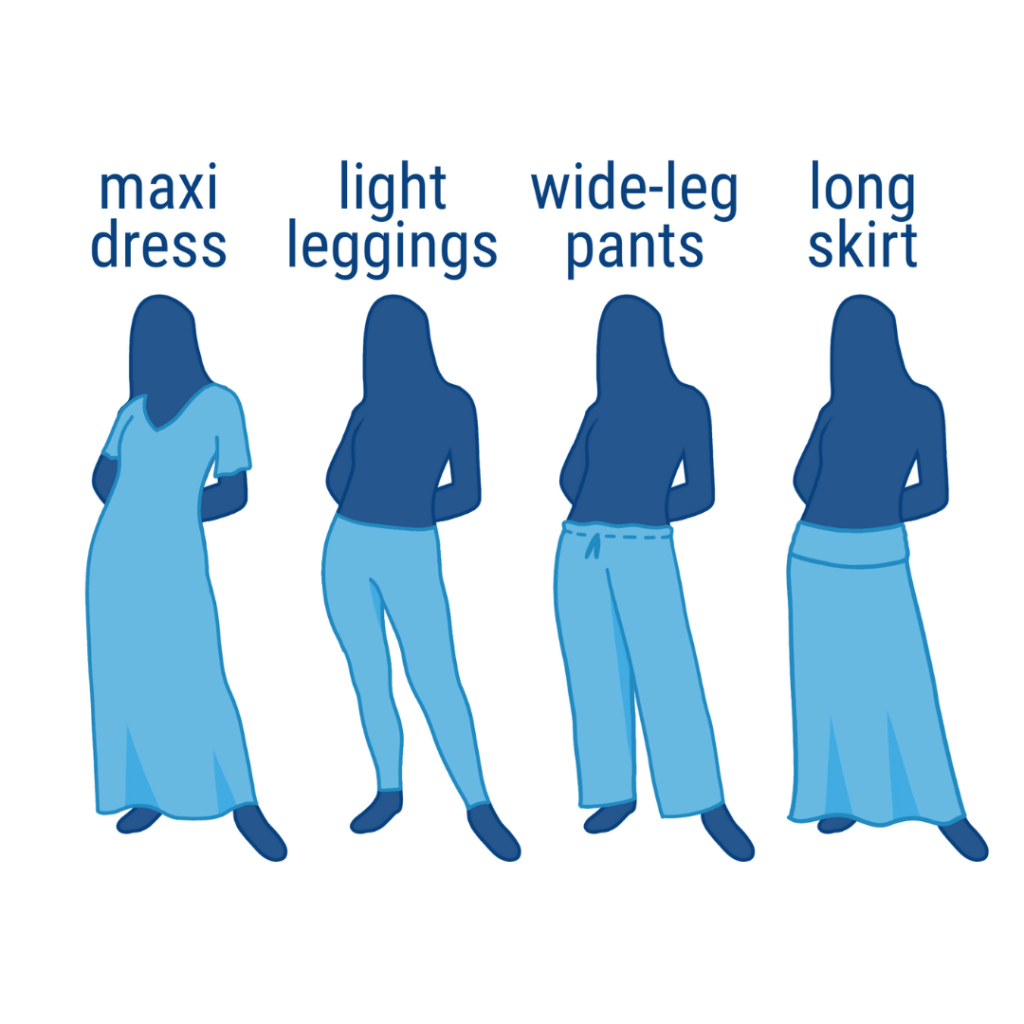 4 women silhouettes modeling different pant styles